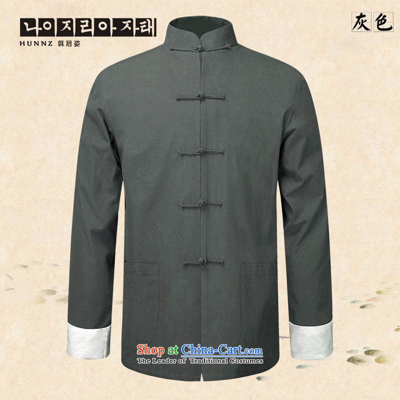 New products of traditional Chinese HANNIZI wind men Tang Dynasty Chinese long-sleeved jacket natural cotton linen clothes Chinese tunic gray 175 Kung Fu