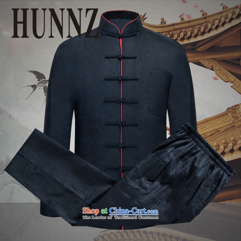 Hunnz China wind men Tang dynasty natural linen package loose plate detained national dress Chinese Kung Fu-pack Black�170