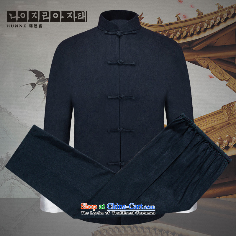 Hannizi natural cotton linen men Kit China wind men Tang Dynasty Chinese tunic disc detained national costume long-sleeved sweater Dark Blue 190