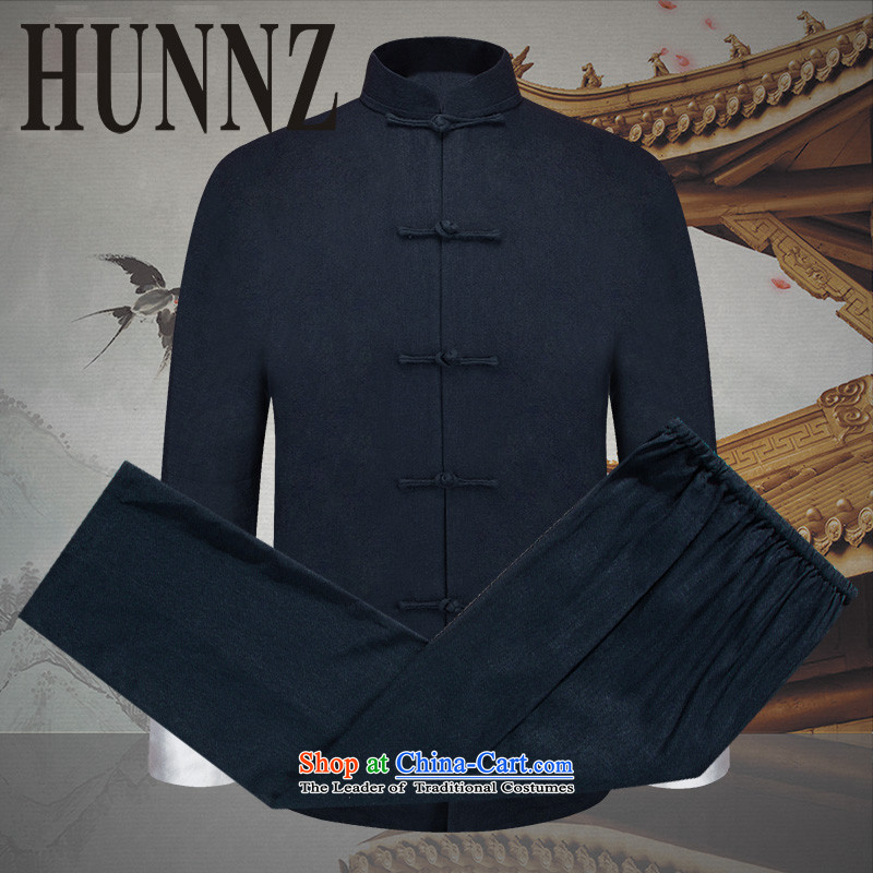 Hunnz natural cotton linen men Kit China wind men Tang Dynasty Chinese tunic disc detained national costume long-sleeved sweater Dark Blue 170