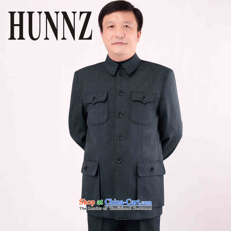New HUNNZ men's classic Chinese tunic kit of older persons in the men's father replace national costumes gray 175 Classic Period