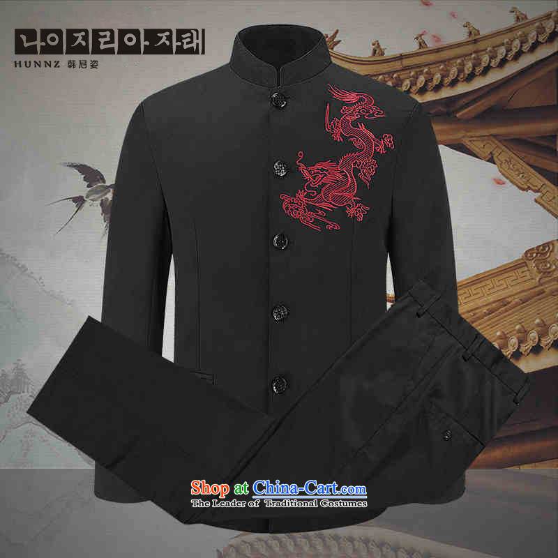 Classic stabbed lung Tang HANNIZI replacing men in Chinese tunic older performances showing the service collar China Wind Jacket Black�190