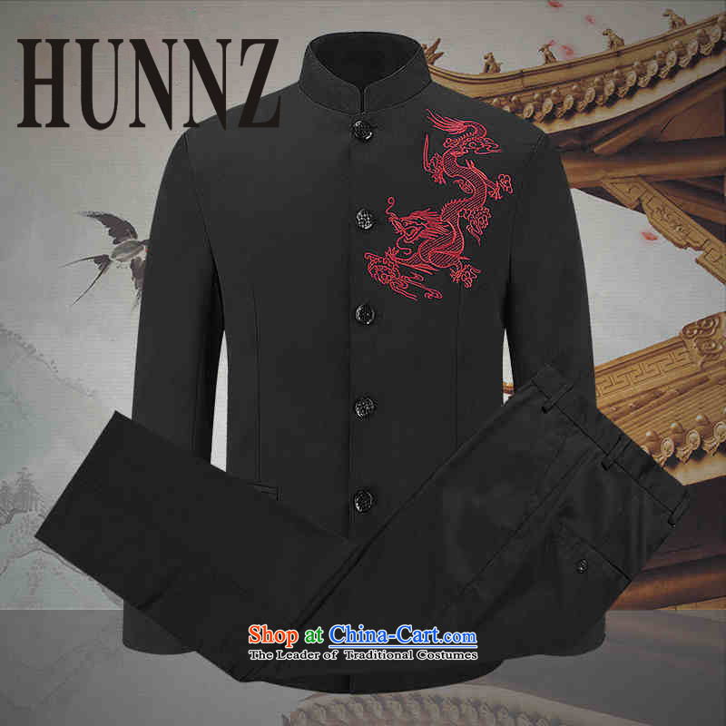 Classic stabbed lung Tang HUNNZ replacing men in Chinese tunic older performances showing the service collar China Wind Jacket Black�180