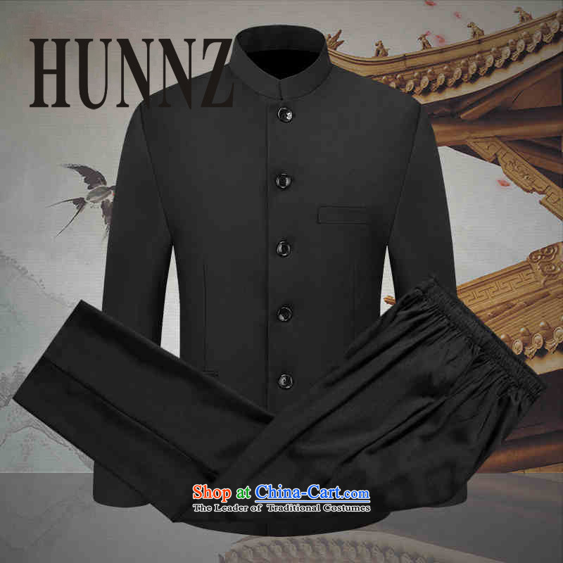 New Products of China HUNNZ Mock-neck Chinese tunic Chinese long-sleeved Sau San Kit young men national costumes Black�165