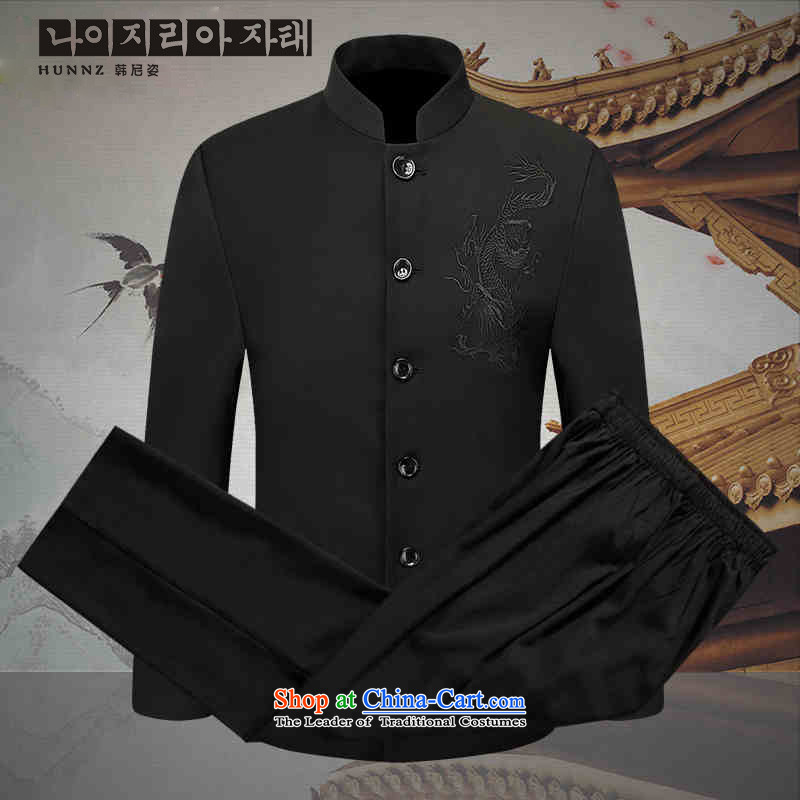 New Products of China HANNIZI Mock-neck Youth Chinese men of the Chinese tunic Sau San habits of men Zhongshan Service Pack Black�185