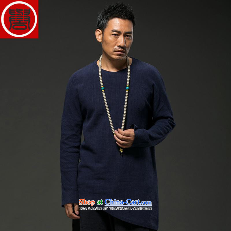 Renowned China wind spring and autumn of 2015 men linen personality long-sleeved T-Chinese men's liberal 桖 spring and fall short in blue shirt and load _L_