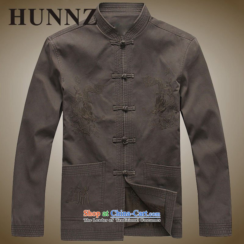 Hunnz new products natural cotton linen men China wind jacket from older Tang national costumes Chinese Men's Mock-Neck khaki聽175