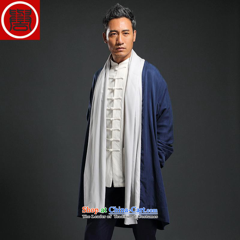 Renowned China wind men long Wind Jacket Tencel Ma Tang dynasty cardigan improved Han-long-sleeved shirt Autumn Chinese Wind�3XL blue clothes for men