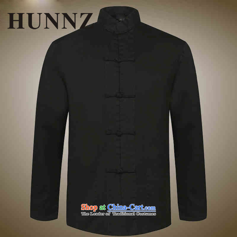 New products of traditional Chinese HUNNZ wind men Tang dynasty old men blacklead long sleeved shirt collar disc detained national costumes Black?180
