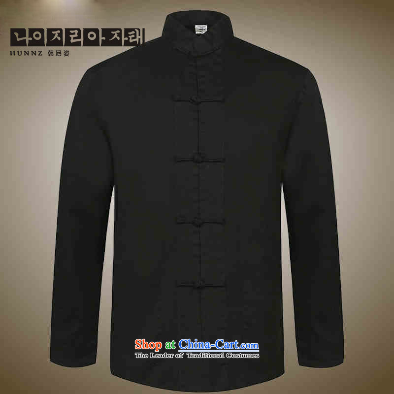 New products of traditional Chinese HANNIZI wind men Tang dynasty old men blacklead long sleeved shirt collar disc detained national costumes Black?165