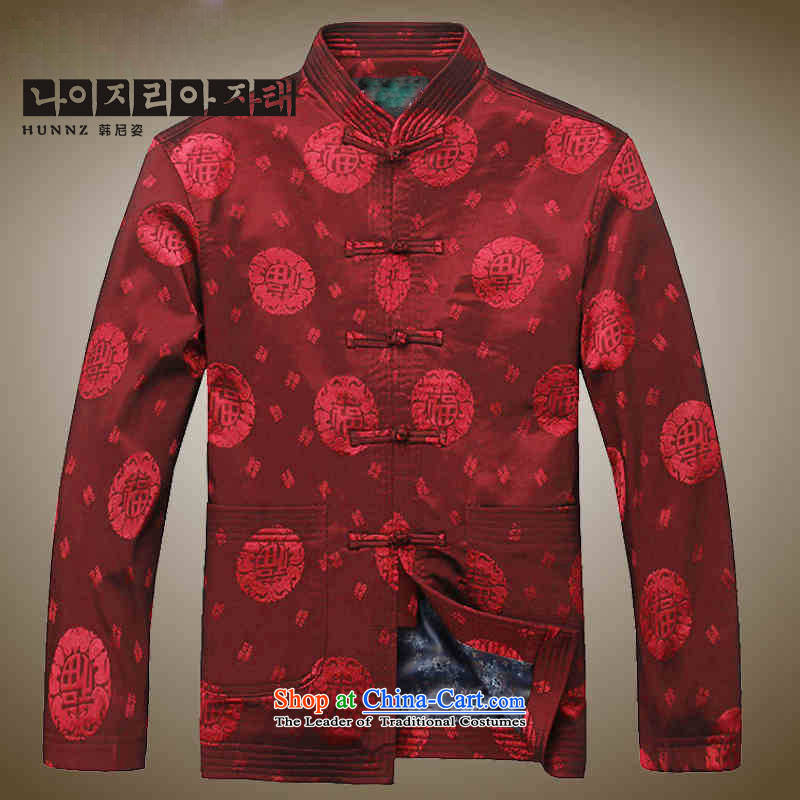 Hannizi men Tang jackets Chinese classical too shou silk jackets father replacing men China wind long-sleeved deep red聽185