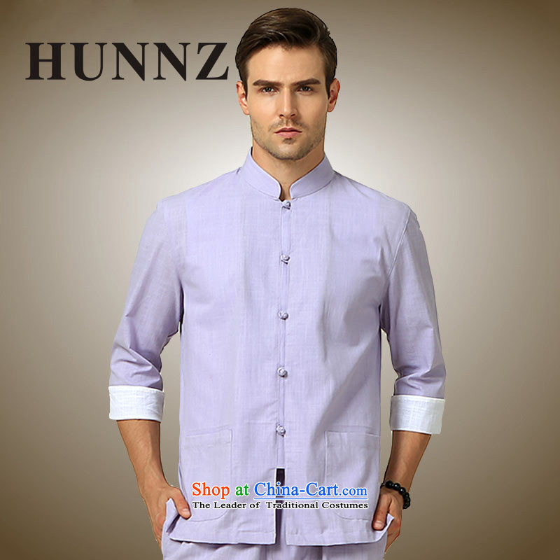 Classic Chinese Wind HUNNZ men in both the short-sleeved shirt Chinese Kung Fu cotton apparel stage services Light Violet 185