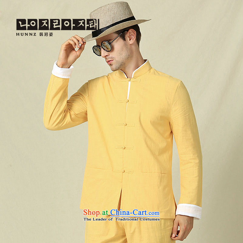New Products classical Tang HANNIZI boxed long sleeved shirt collar China Wind Jacket Chinese Disc detained men retro kung fu with yellow 165