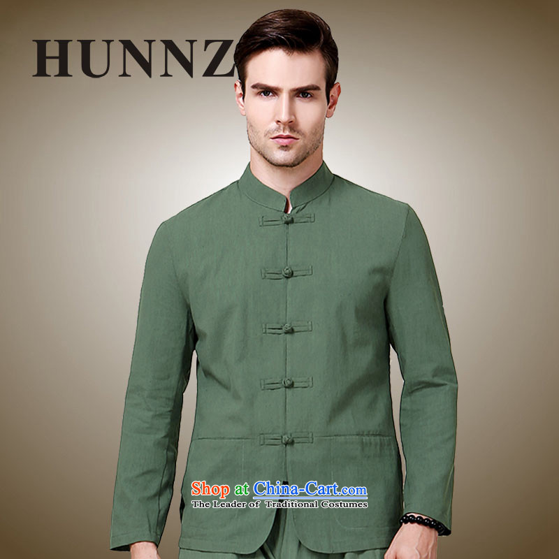 Classic collar of the Sau San HUNNZ men Tang dynasty China wind national costumes kung fu men serving Chinese long-sleeved sweater Army Green聽180