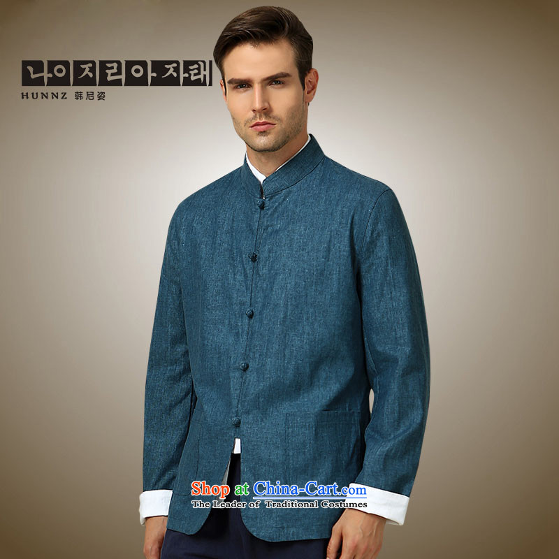 New Products classical HANNIZI2015 minimalist men Tang China Wind Jacket collar tray clip Chinese men's long-sleeved blue�185