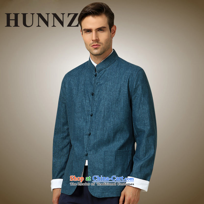 New Products classical HUNNZ2015 minimalist men Tang China Wind Jacket collar tray clip Chinese men's long-sleeved blue?175
