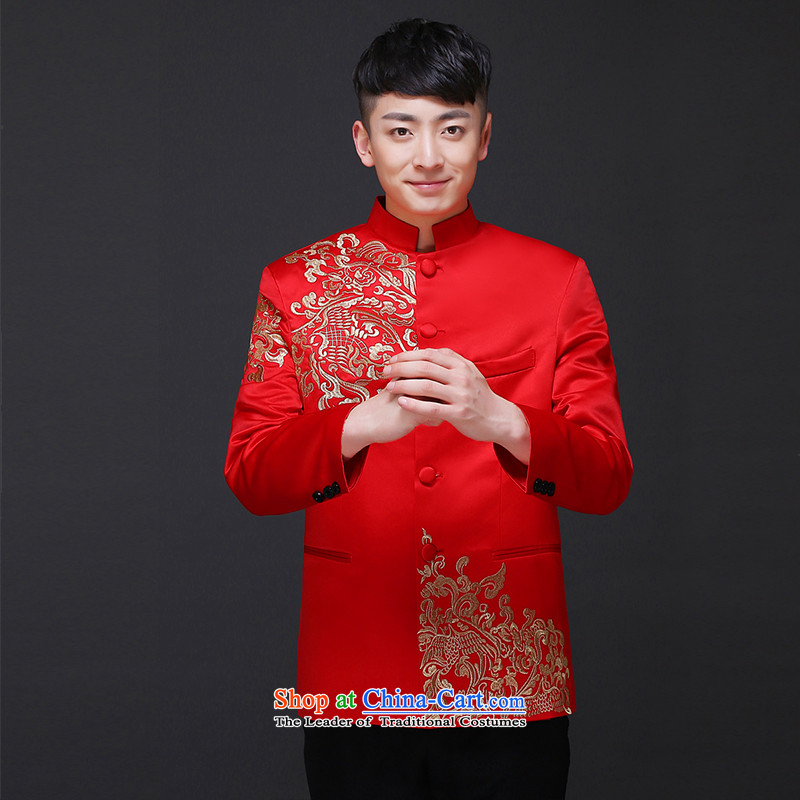 The Royal Advisory Groups to show love men Chinese style wedding groom long-sleeved Soo Wo service men Tang Dynasty Chinese tunic red wedding dress costume hi-load the new Chinese embroidery t-shirt and groom?L