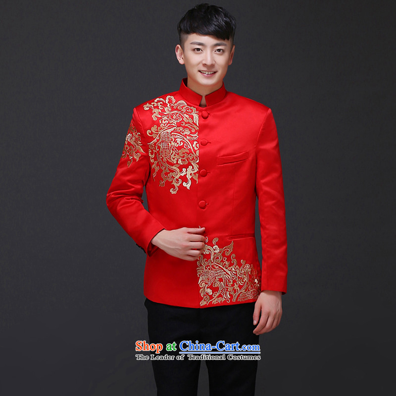 The Royal Advisory Groups to show love men Chinese style wedding groom long-sleeved Soo Wo service men Tang Dynasty Chinese tunic red wedding dress costume hi-load the new Chinese embroidery t-shirt and groom聽, L, Royal Advisory has been pressed land shop