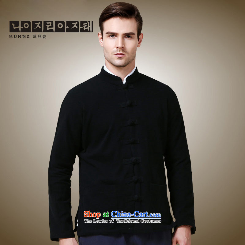Hannizi new products simple men Tang jackets Classical China wind long-sleeved Chinese collar tray clip black jacket聽175