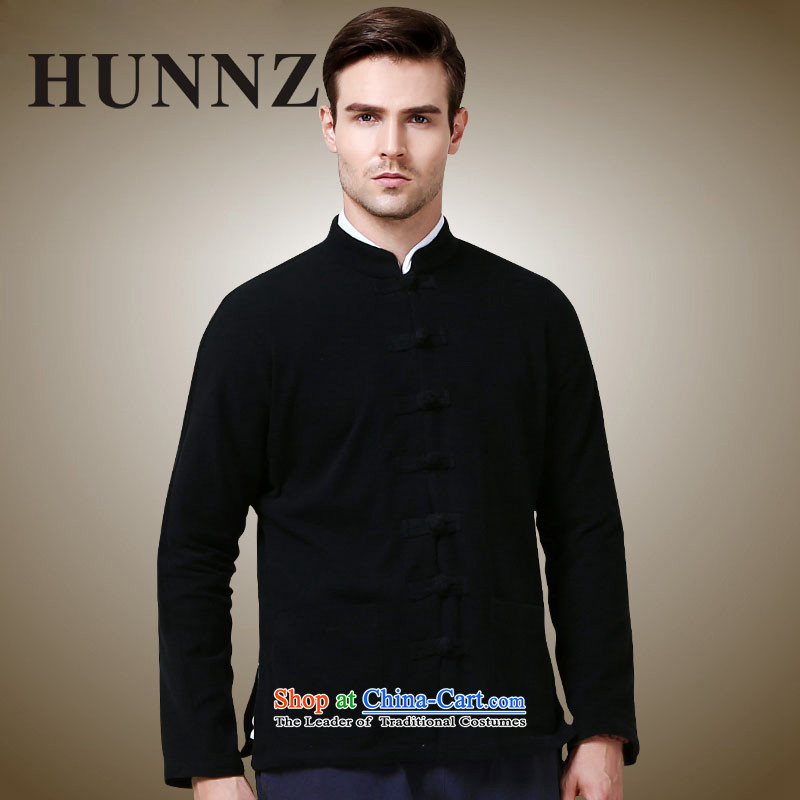 Hunnz new products simple men Tang jackets Classical China wind long-sleeved Chinese collar tray clip black jacket?165