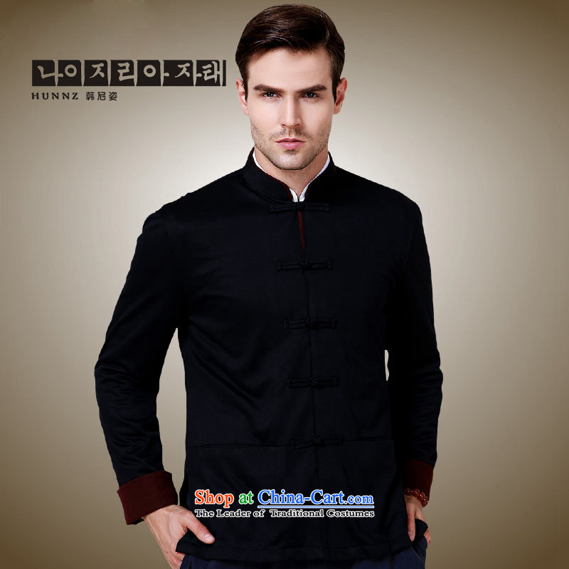 Hannizi stylish and simple China wind collar disc detained men Tang Dynasty Chinese classical long-sleeved sweater jacket , black 180, Korea (hannizi Gigi Lai) , , , shopping on the Internet