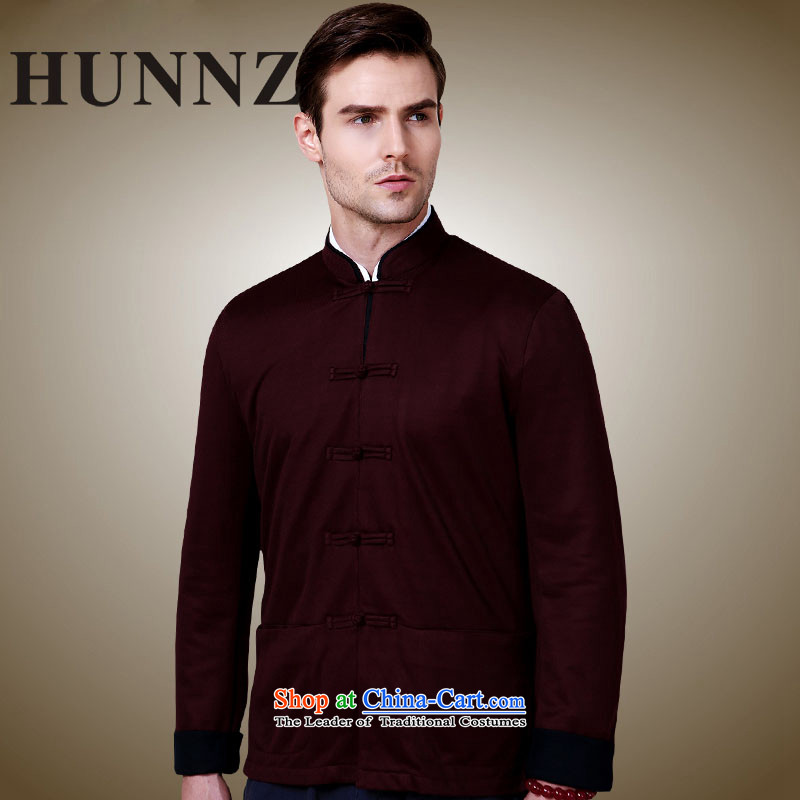 Hunnz stylish and simple China wind collar disc detained men Tang Dynasty Chinese classical long-sleeved sweater jacket deep red?175