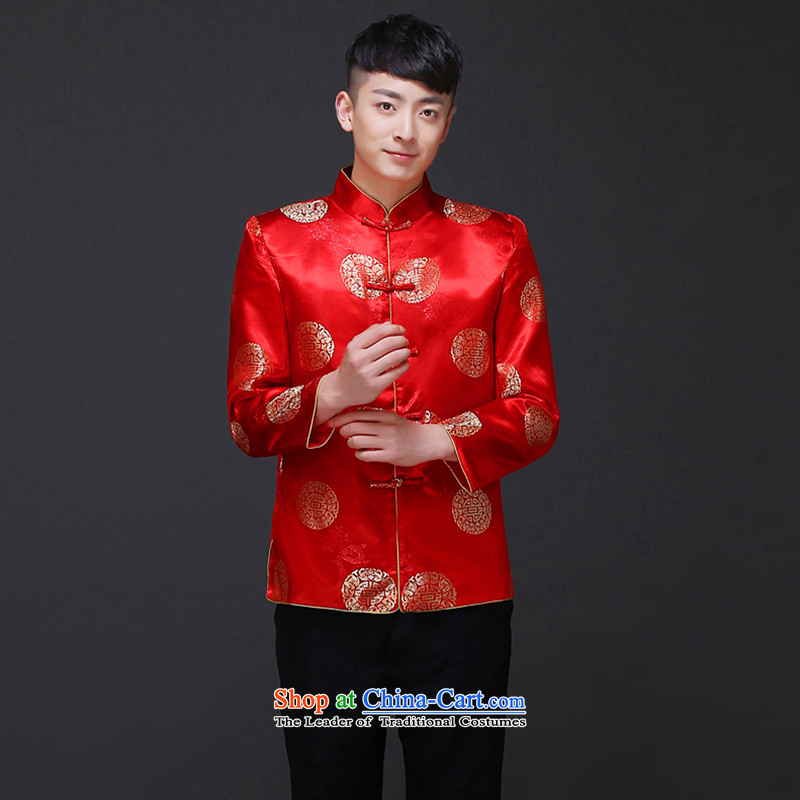 The Royal Advisory Groups to show love men new Chinese style wedding married men and Tang dynasty red Sau Wo serving Chinese tunic national costumes of the bridegroom bows dress shirt of the bridegroom load Chinese?S