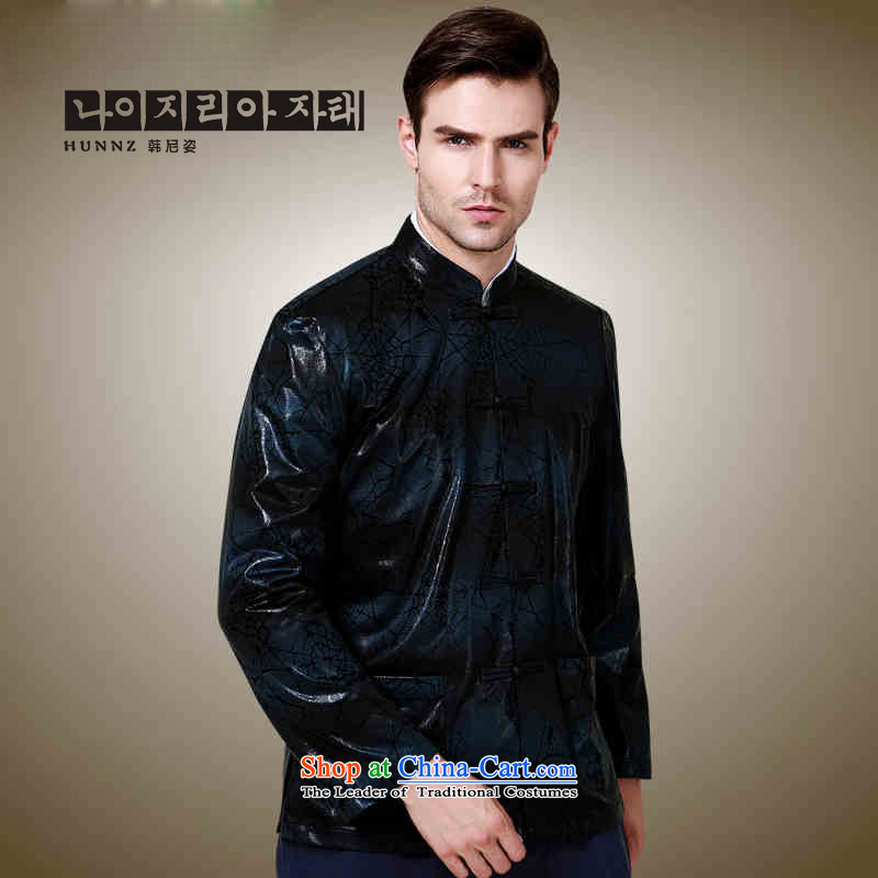 Hannizi classical minimalist men Tang dynasty polyester long-sleeved sweater China wind collar disc detained jacket Dark Blue�190