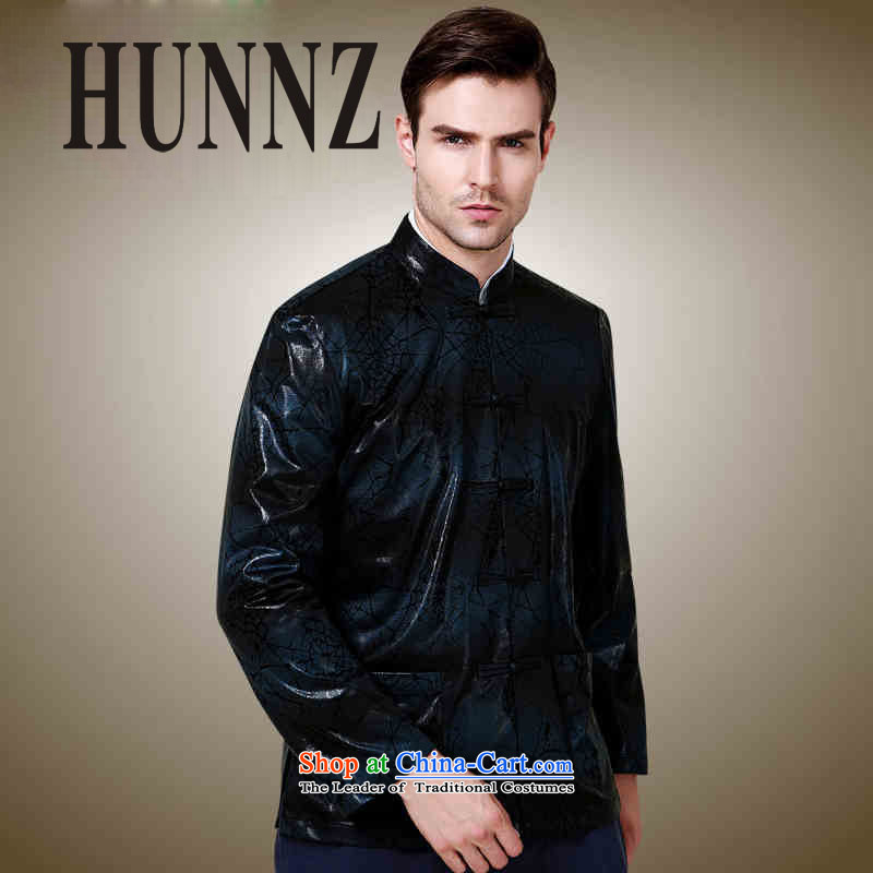 Hunnz classical minimalist men Tang dynasty polyester long-sleeved sweater China wind collar disc detained jacket Dark Blue?185