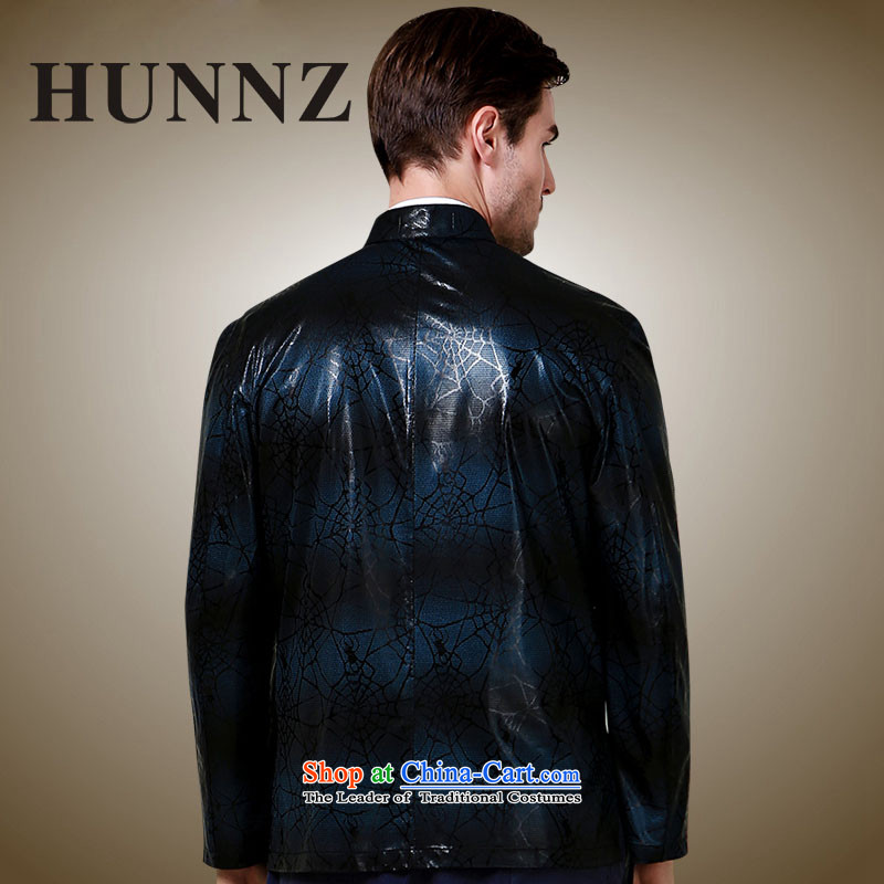 Hunnz classical minimalist men Tang dynasty polyester long-sleeved sweater China wind collar disc detained jacket dark blue185,HUNNZ,,, shopping on the Internet