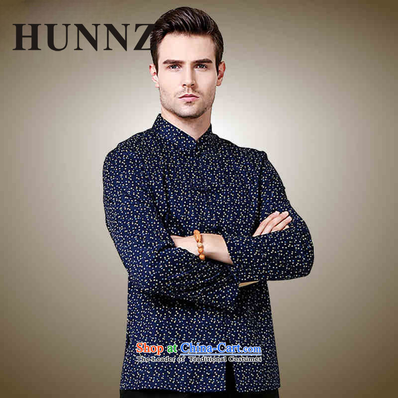 Small stylish new HUNNZ SAIKA Men's Shirt classical Tang dynasty China wind l Chinese shirt Dark Blue�180