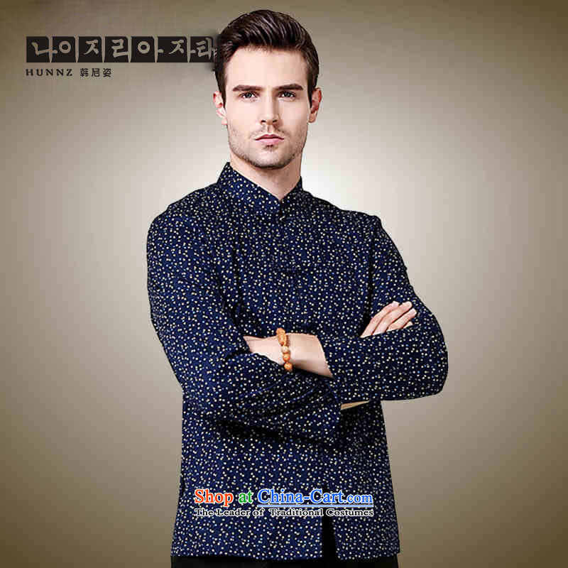 Small stylish new HANNIZI SAIKA Men's Shirt classical Tang dynasty China wind l Chinese shirt Dark Blue?175