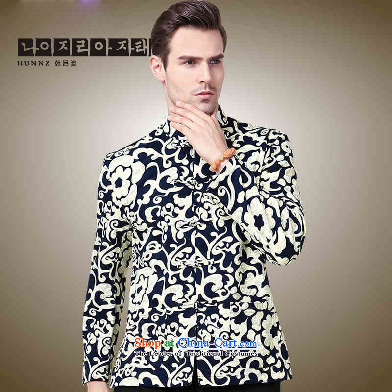 Hannizi men Tang jackets Classical China wind 3D color stamp collar disc detained Chinese men long-sleeved black men�165