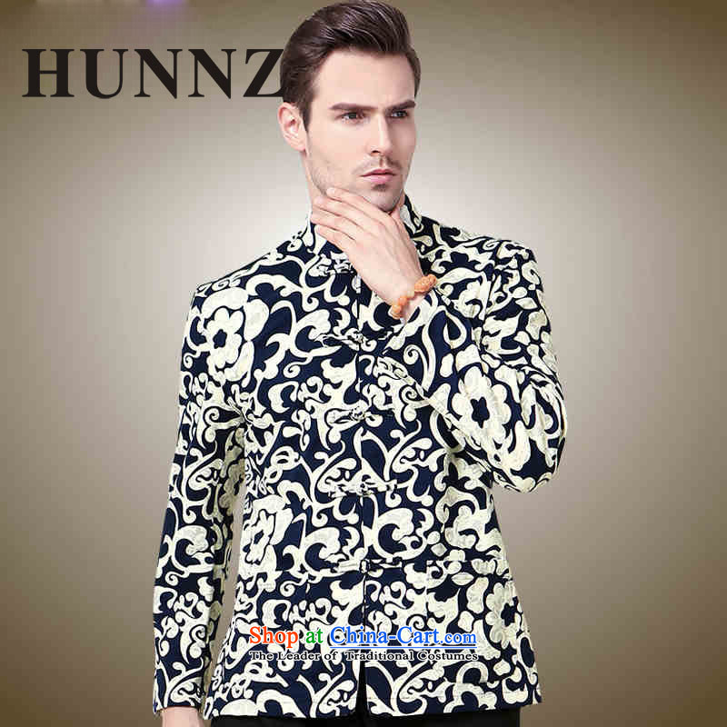 Hunnz men Tang jackets Classical China wind 3D color stamp collar disc detained Chinese men long-sleeved black men�0