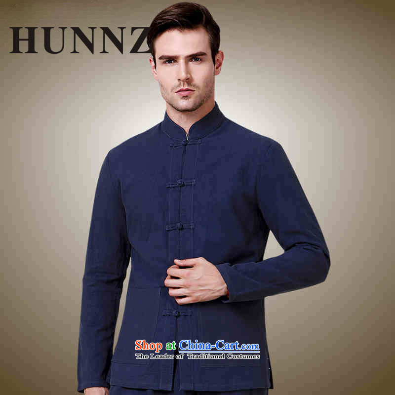 New HUNNZ2015 men Tang China Wind Jacket collar tray clip Sau San men Simple Chinese shirt Dark Blue?185