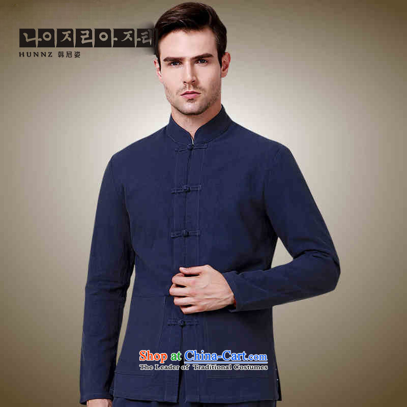 New HANNIZI2015 men Tang China Wind Jacket collar tray clip Sau San men Simple Chinese shirt Dark Blue�165