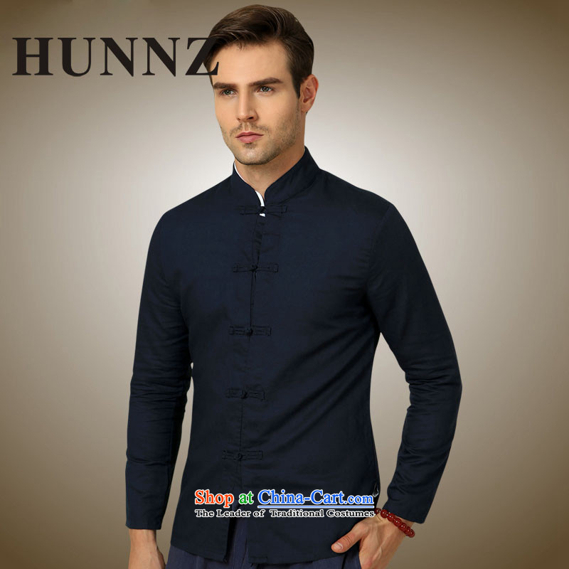 Hunnz natural cotton linen men Tang dynasty China wind long sleeved shirt collar shirt Solid Color Chinese men's black tie up聽180