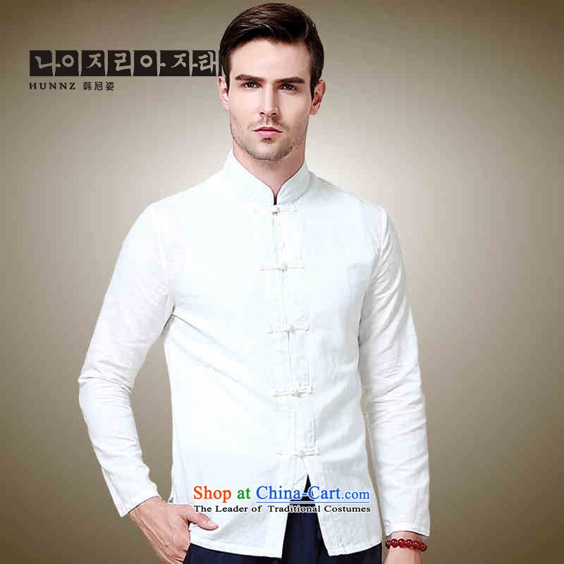 Hannizi natural cotton linen men Tang dynasty China wind long sleeved shirt collar shirt Solid Color Chinese White men detained tray聽175