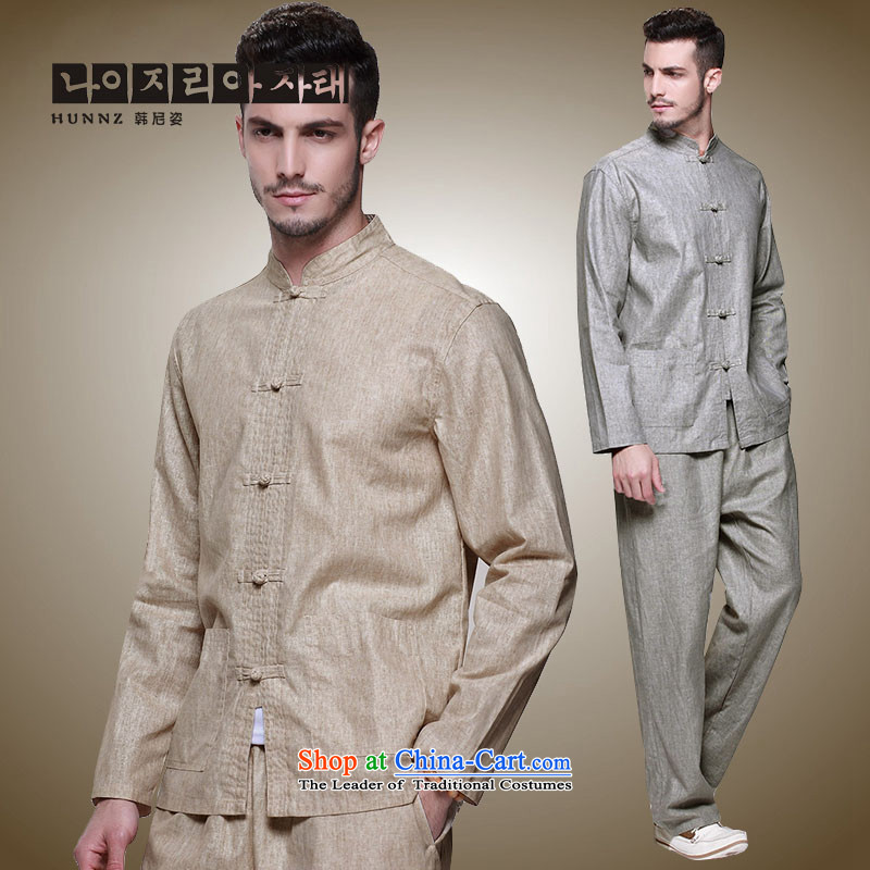 Hannizi new products natural cotton linen men Tang Dynasty Chinese national costume Kit Traditional Chinese wind up detained men light yellow 175