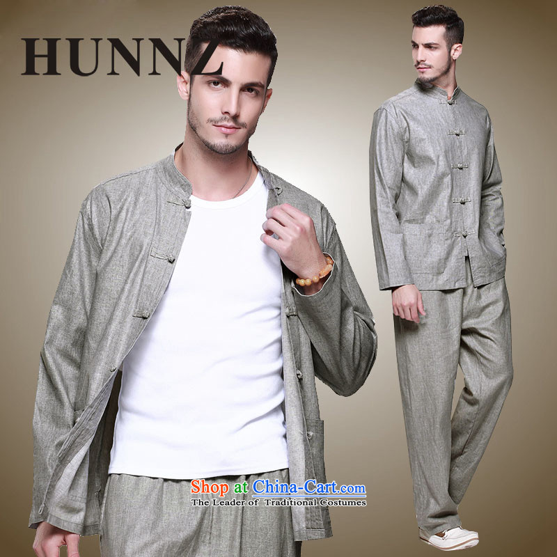 Hunnz new products natural cotton linen men Tang Dynasty Chinese national costume Kit Traditional Chinese wind up detained men gray 165