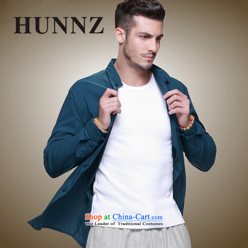 The new classic Chinese HUNNZ wind Tang Dynasty Men's Mock-Neck tray clip Cotton Men's Jackets slim national costumes Blue?185