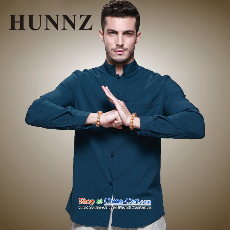 The new classic Chinese HUNNZ wind Tang Dynasty Men's Mock-Neck tray clip Cotton Men's Jackets ultra-thin blue聽185,HUNNZ,,, national costumes shopping on the Internet