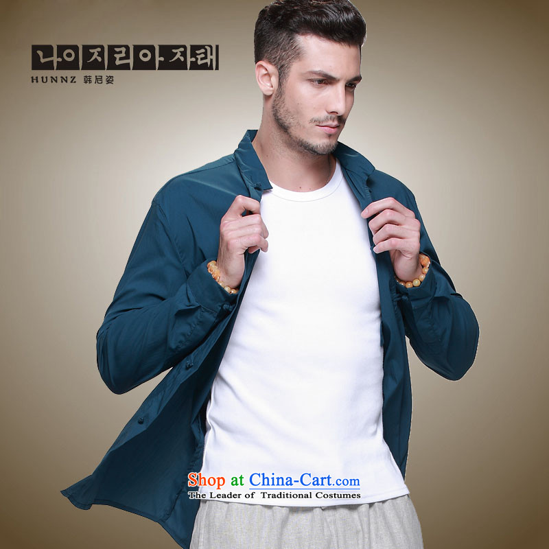 The new classic Chinese HANNIZI wind Tang Dynasty Men's Mock-Neck tray clip Cotton Men's Jackets slim national costumes Blue 165
