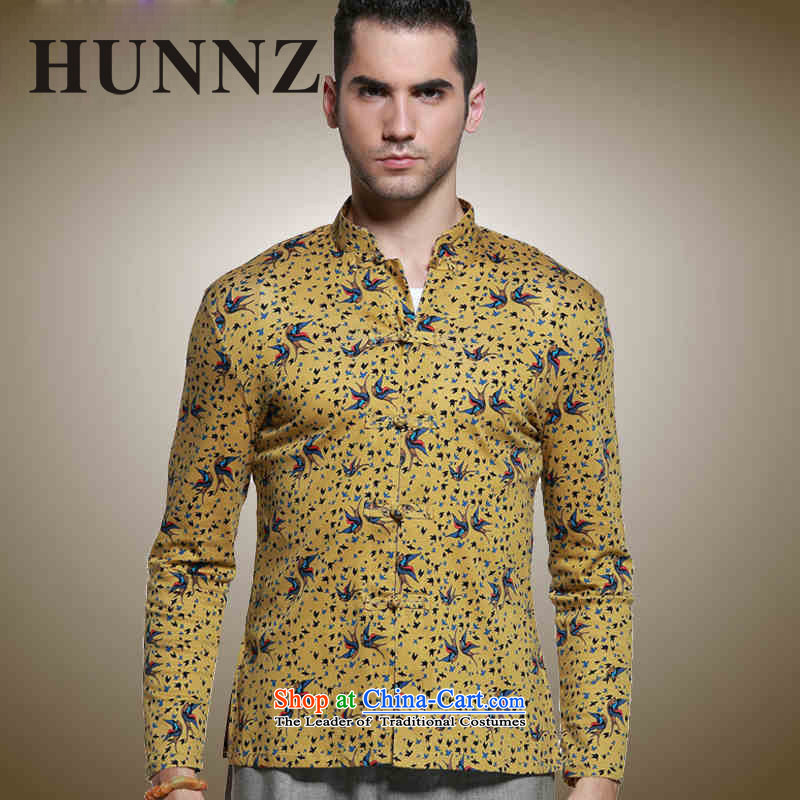 Classic Chinese Wind HUNNZ Men's Mock-Neck Tang Dynasty Chinese shirt men detained disc with floral long-sleeved shirt yellow 180