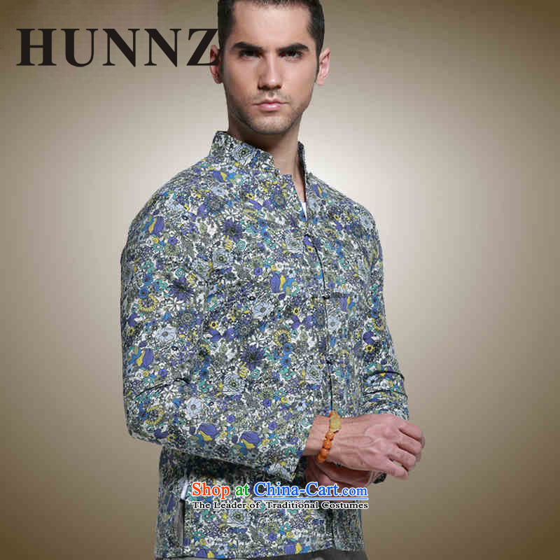 Hunnz China wind men Tang long sleeved shirt with tie up collar Sau San men retro small saika national dress suit�165