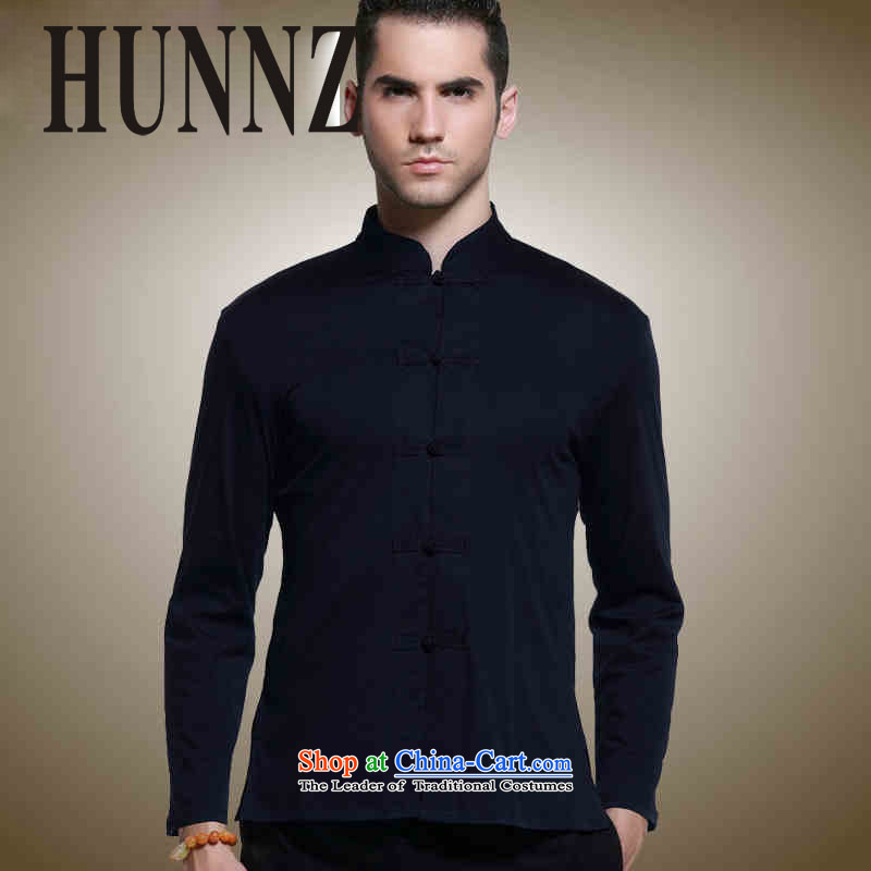 Sau San Tong load HUNNZ classic long sleeved shirt collar up China wind detained men's shirts, natural cotton linen and blue jacket?165