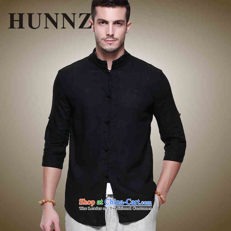 Natural Linen men HUNNZ Tang tray clip collar Chinese men's jackets China wind Sau San stereo shirt Black聽185