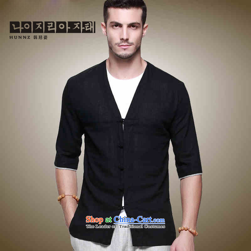 Hannizi Han-linen men Tang dynasty Classic Chinese Wind Sau San disk is in his shirt-sleeves and sexy men's V-Neck Black�0
