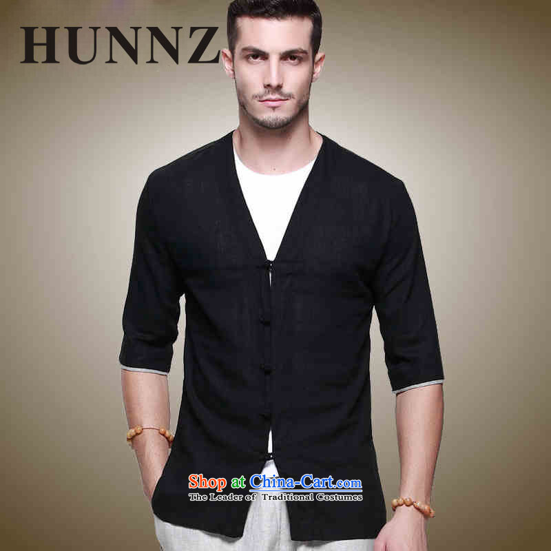 Hunnz Han-linen men Tang dynasty Classic Chinese Wind Sau San disk is in his shirt-sleeves and sexy men's V-Neck Black 175