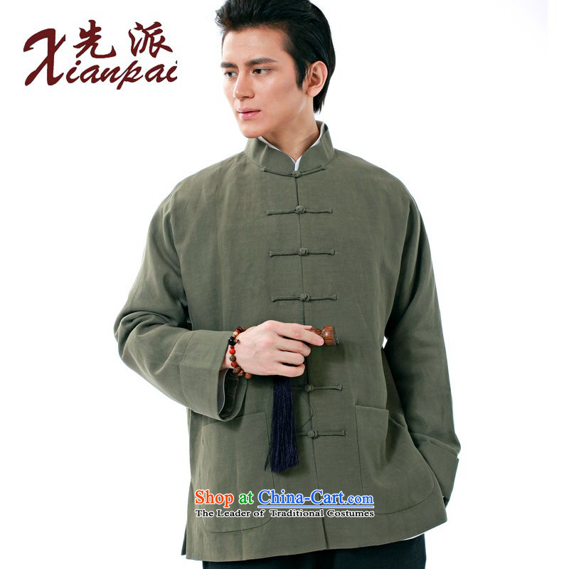 The dispatch of the Spring and Autumn Period and the new father's day silk linen Tang dynasty men even long-sleeved sweater in elderly shoulder quality custom Chinese Dress Shirt ethnic youth green silk Ma Jacket�4XL�new pre-sale 3 day shipping